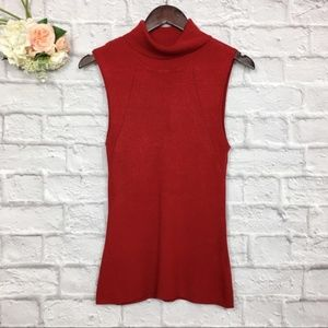 WHBM Red Cowl Neck Sleeveless Knit Top Size M
